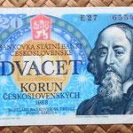 Checoslovaquia 20 korun 1988 anverso