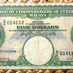Malaya británica 5 dólares 1941 anverso