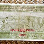 Reino de Serbia, Croacia y Eslovenia 20 dinares 80 coronas 1919 anverso