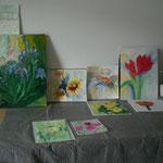 AtelierMo Aquarellbilder und Acrylbilder von verschied. Teilnehmerinnen
