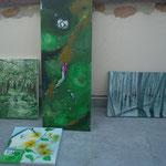 AtelierMo Workshop Acryl Teilnehmerarbeiten, Landschaft