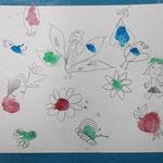 1. Fleckenbild mit Ausarbeitung durch Fantasie und Bleistift