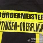 Rückenschild der Einsatzjacke für unseren Bürgermeister Jürgen Buhl