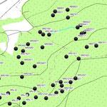 Ballung von Meilerplätzen an der Grenze des Herrschaftl. Forstes (Domäne) zum Kirchenwald (Meschenbach)