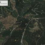 Kohlstätten-Kartierung von 1864 und vorgefundene Meilerplätze, Straßenberg (Rauenstein), von Süden