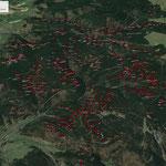 Übersicht über Kohlstätten im Forst Hämmern (HÄ), Rauenstein (RAU), Steinheid (SH) und Steinach (ST), Blick nach Westen