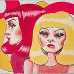 Les Demoiselles Jumelles, Acrylic & marker On Paper, (18x13 cm).