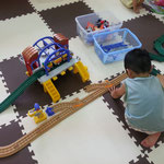 playing with the train set