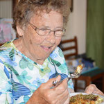Great grandmother eating okonomiyaki