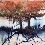 herfst, aquarel met metaalfolie, 40 x 50 cm