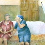greek gossip, aquarel 25 x 35 cm