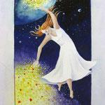 lichtbrenger 2, aquarel + iriserend medium 20 x 30 cm