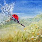 beestje, aquarel op doek 20 x 20 cm
