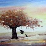 boomschommel, aquarel met metaalfolie, 30 x 40 cm