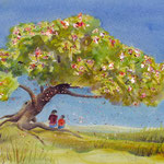 healing tree, aquarel met metaalfolie 40 x 50 cm