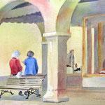 italian gossip, aquarel 25 x 35 cm