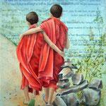 samen, aquarelaquarel met zijdevloeipapier 40 x 50 cm