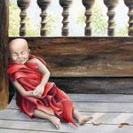 little buddha, aquarel, gesso met speksteen en losse pigmenten  50 x 70 cm