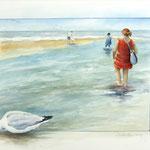 dagje aan het strand, aquarel 40 x 50 cm