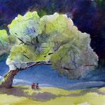watching the silver light 24 x 34 cm aquarel met iriserend medium