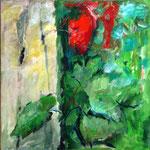 rotes Blatt, Acryl auf LW, 70x70cm