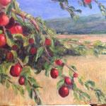 Appels in berglandschap. 60x80cm olie op linnen. 2018
