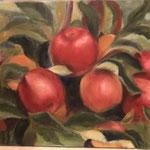 rode appels . 40x50cm olie op linnen. 2019. in baklijst.