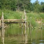 Закол на Усте: сверху - рыбацкие мостки, откуда опускают сеть