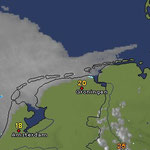 Ein großes Seenebelgebiet vor der Holländischen Küste