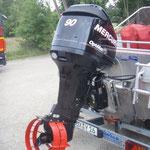 Der 90 PS Außenbordmotor von Mercury / © Freiwillige Feuerwehr Cuxhaven-Duhnen