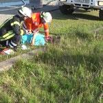 Der Duhner Wassertrupp unterstützt bei der Verletztenbetreuung © Freiwillige Feuerwehr Cuxhaven-Duhnen