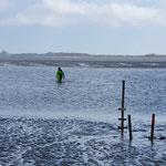 Wasserstandszeichen an der Prielkante © FF.Cuxhaven-Duhnen