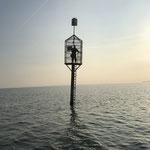 Person auf Rettungsbake 3 © FF.Cuxhaven-Duhnen