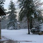 vu du pigeonnier la neige dans le Lot