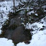 le ruisseau de coffinier reprend du service avec la neige dans la vallée de coffinier dans le Lot sur les causses du Quercy