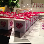 selbstgemachte Gastgeschenke dienten hier als Give-Aways für interessierte Brautpaare