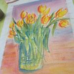 Tulpenstrauß in Wachskreide und Aquarell