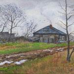 2013, Jesień na wsi, olej na płótnie lnianym, 30 x 40 cm.