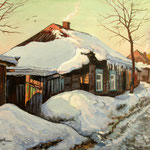 2011, Zimowy poranek, Wintermorgen, winter morning, olej na płótnie, 30 x 40 cm. Зима, снег, деревня,