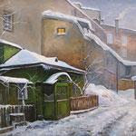 2013, Zimowy wieczór, Olej na płótnie lnianym, 35 x 45 cm. Winter evening, Winterabend, 冬季,雪,