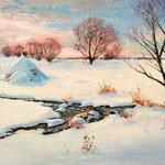 2013, Śnieg, Schnee, Snow,  olej na płótnie lnianym, 40 x 60 cm.