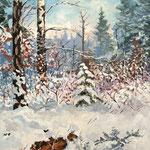2012, Zima w lesie 2, olej na płótnie, 31 x 40 cm.
