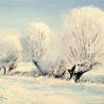 2015, Zimowy pejzaż, Winter landscape, olej na sklejce, 21 x 30 cm.