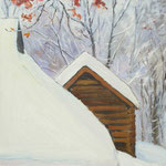 2016, Zima w lesie, Winter im Wald, olej na płycie, 25 x 38 cm.