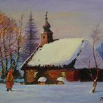 2013, Zima na wsi,  olej na płótnie lnianym, 30 x 40 cm.