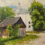 2015, Kazimierz Dolny, widok na kościół św. Anny, Landschaft mit der Kirche, olej na płótnie lnianym, 30 x 40 cm.
