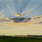2017, Słońce za chmurami, sun behind the clouds, olej na  płótnie lnianym, 33,5 x 43,5 cm.
