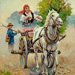2010, Wesoła jazda, funny ride, olej na płótnie lnianym, 30 x 40 cm. Funny ride, лошади, девушка