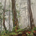 2014, Las, Wald, Forest, olej na desce, 18 x 30 cm.