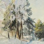 2018, Zima na wsi, Winter auf dem Lande, olej na  płótnie lnianym, 35 x 50 cm.